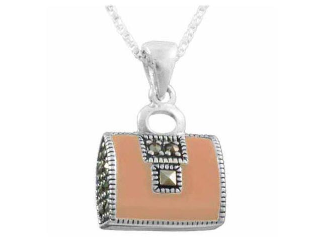 Sterling Silver Pink enamel Purse Pendant