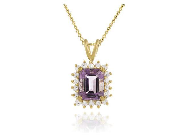 Vermeil (24k Gold over Sterling Silver) Emerald cut Genuine Amethyst and Simulat