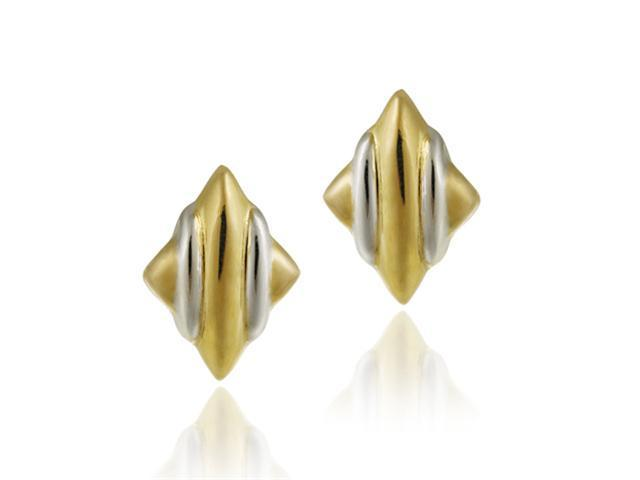 18K Gold over Sterling Silver Two Tone Diamond Shape Earrings