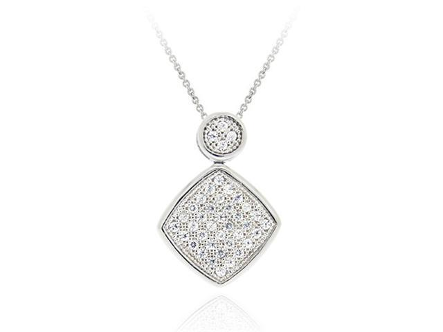 Sterling Silver CZ Micro Pave Diamond Shaped Pendant