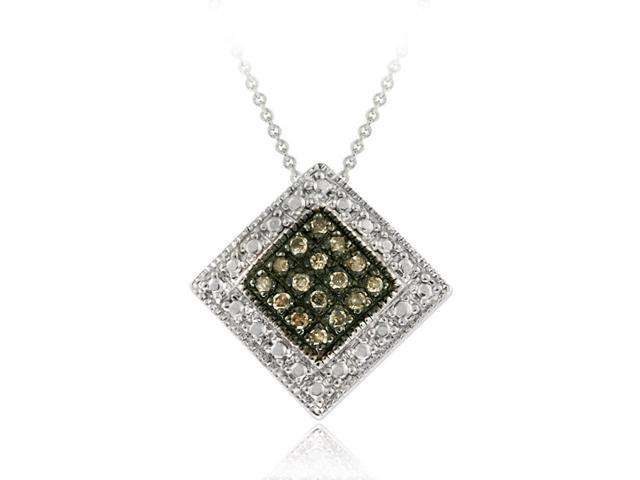 Sterling Silver 1/5 ct. TDW Diamond Shaped Champagne Diamond Pendant