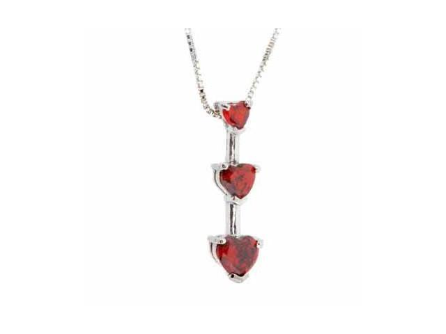 Sterling Silver Past Present and Future Red Heart Pendant