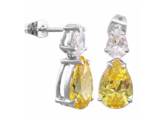 Sterling Silver Yellow and Simulated Diamond CZ earrings