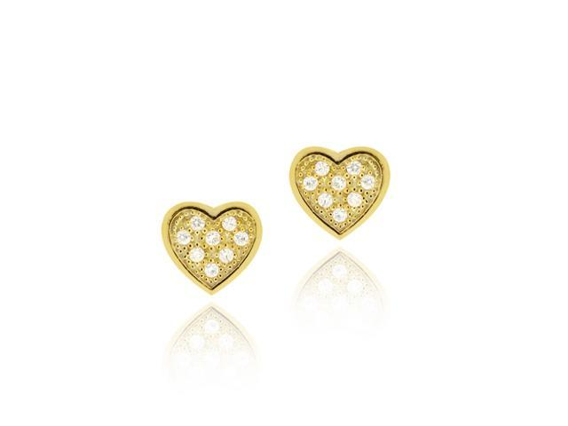 18K Gold over Sterling Silver CZ Micro Pave Small Heart Stud Earrings