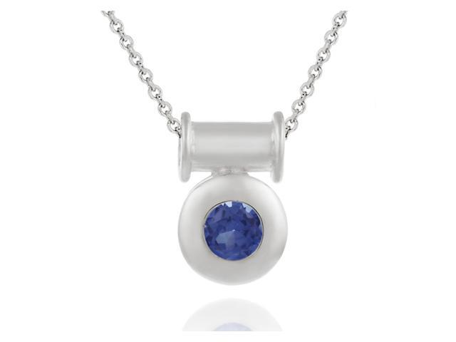 Sterling Silver slide Macaroni Pendant with round bezel set Simulated Tanzanite