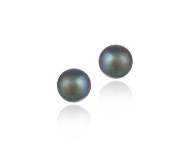 Sterling Silver Freshwater Cultured 8-8.5mm Peacock Pearl Stud Earrings