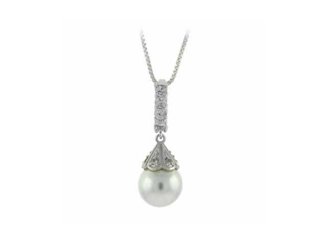 Dangling simulated Pearl Drop Simulated Diamond CZ Silver Pendant