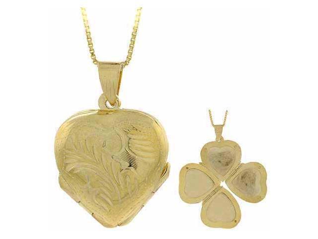 18K Gold over Sterling Silver Etched Flower Heart 4-Way Locket Pendant