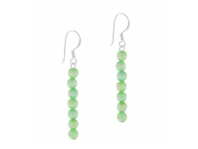 Sterling Silver 4mm Light Green Simulated Cats Eye Stone 6 Bead Beaded Dangle Ho