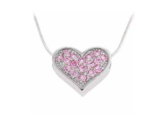 Sterling Silver Pink Cubic Zirconia Pave Heart Slide/Pendant