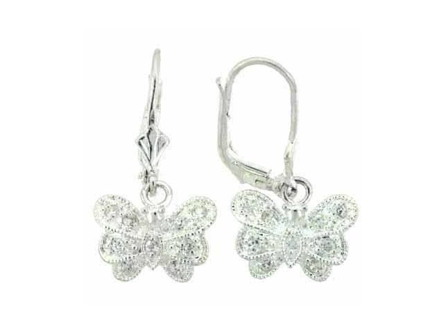 Sterling Silver Simulated Diamond CZ Pave Butterfly LeverBack Lever Back Earring