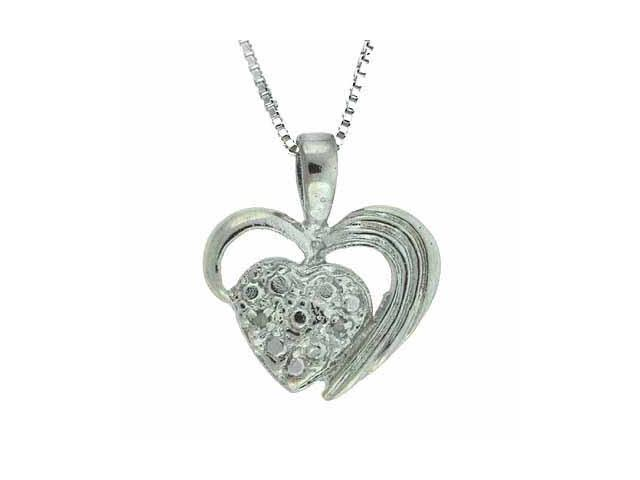 Sterling Silver Genuine Diamond Accent Heart within a Heart Pendant