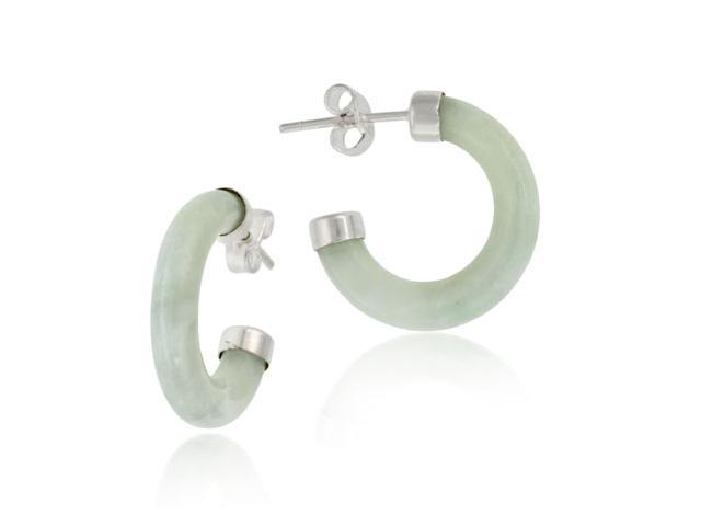 Sterling Silver and Genuine Green Jade Half Hoop Earrings