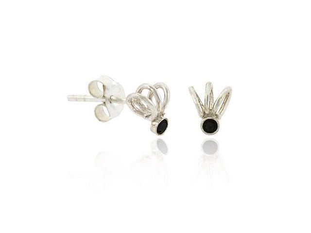 Sterling Silver .925 Black Rhinestone Swirl Small Mini Kid Stud Earrings