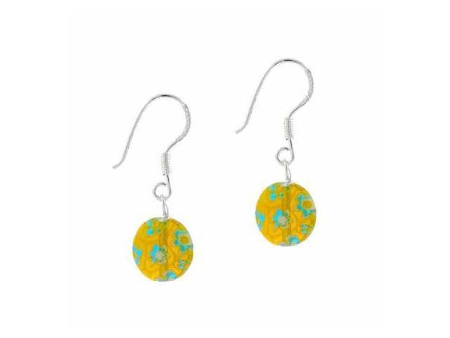Sterling Silver Yellow and Blue Millefiori Disc Murano Glass Earrings