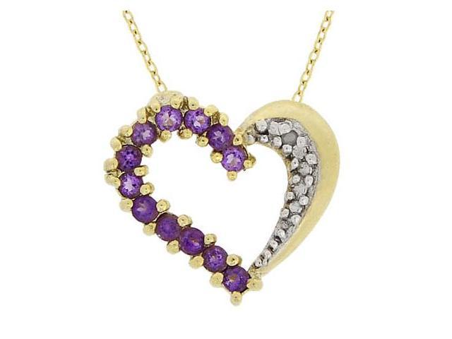 18K Over Sterling Silver .48 CTW Amethyst & Diamond Accent Heart Pendant