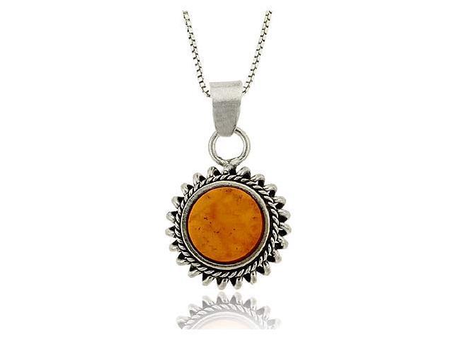 Sterling Silver .925 Round Genuine Amber Stone Flower Starburst Pendant