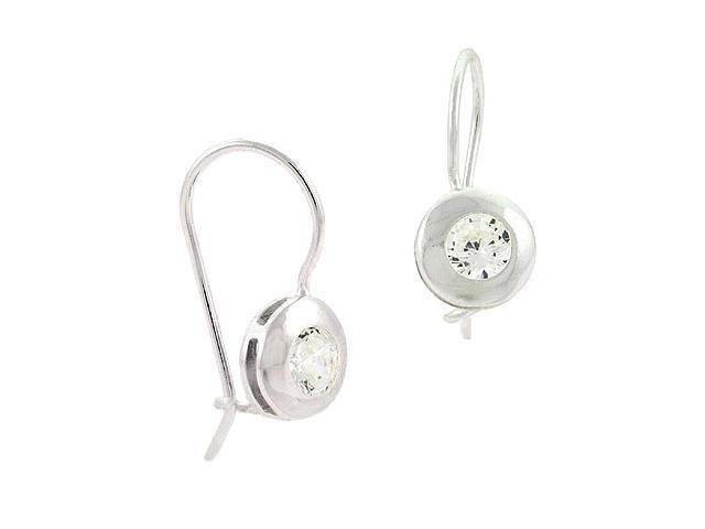 Sterling Silver Bezel Set Simulated Diamond cz Stone Round Fish Hook Earrings