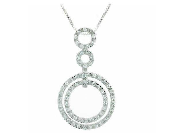Celebrity Inspired Sterling Silver Simulated Diamond cz Circle Within a Circle F