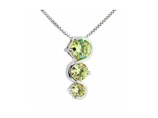 Sterling Silver Past Present and Future Light Green Pendant