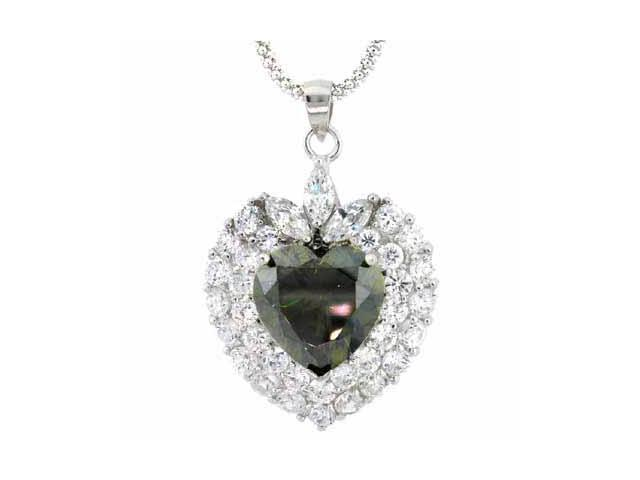 Sterling Silver Olive & Clear CZ Heart Pendant
