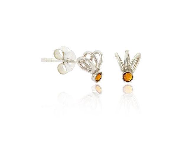 Sterling Silver .925 Orange Rhinestone Swirl Small Mini Kid Stud Earrings