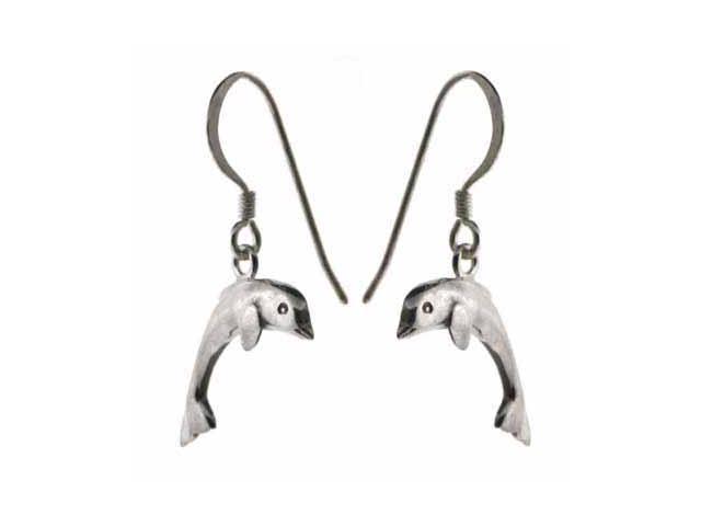 Sterling Silver Dangling Dolphin Earrings