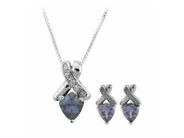 Sterling Silver Simulated Diamond cz and Simulated Tanzanite  cz Pendant and Ear