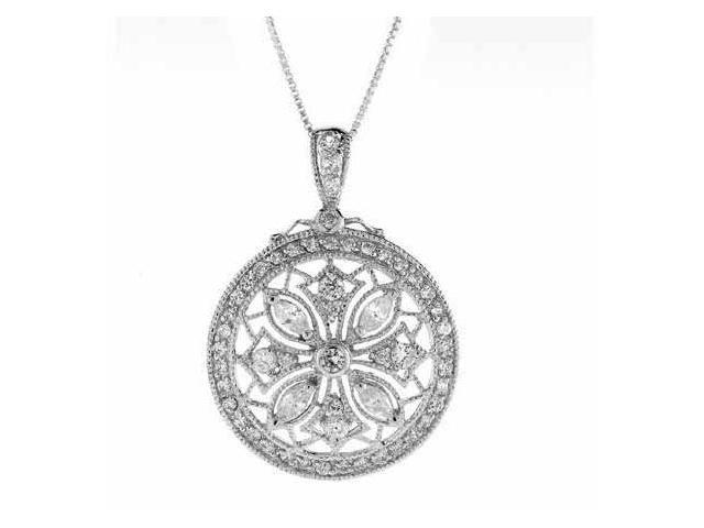 Sterling Silver Simulated Diamond cz Flower Filigree Snowflake Pendant