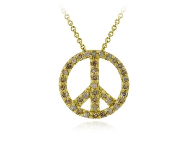 18K Gold over Sterling Silver .37ct TDW Genuine Champagne Diamond Peace Pendant