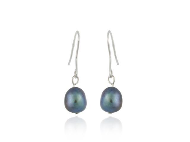 Sterling Silver Baroque Freshwater Cultured Peacock Pearl Earrings