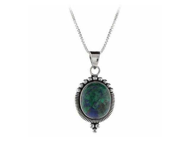 Sterling Silver Genuine Azurite Stone Bali Beaded Oval Pendant