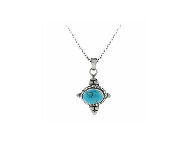 Sterling Silver Bali Beaded Simulated Blue Turquoise Stone East West Pendant