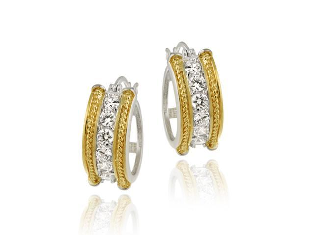 Sterling Silver & Gold Overlay Two Tone CZ Cable Hoop Earrings
