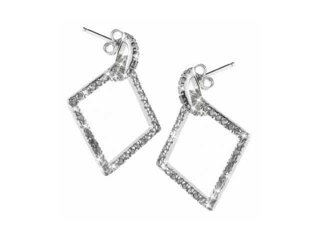 Celebrity Hanging Square Simulated Diamond CZ and Sterling Silver Earrings
