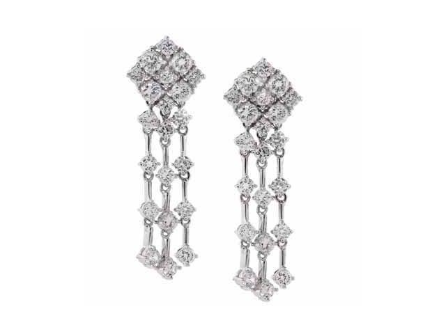 Long Dangling Simulated Diamond CZ Chandelier 3 Strand Silver Earrings