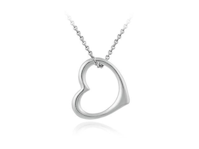 "Designer Open Floating Heart Sleek Sterling Silver Pendant, 18"""