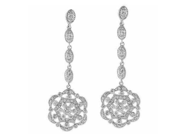 Sterling Silver simulated Diamond cz Flower Earrings