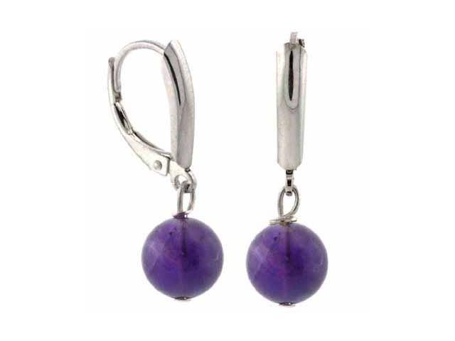 Sterling Silver Genuine Amethyst Bead Dangling LeverBack Lever Back Earrings