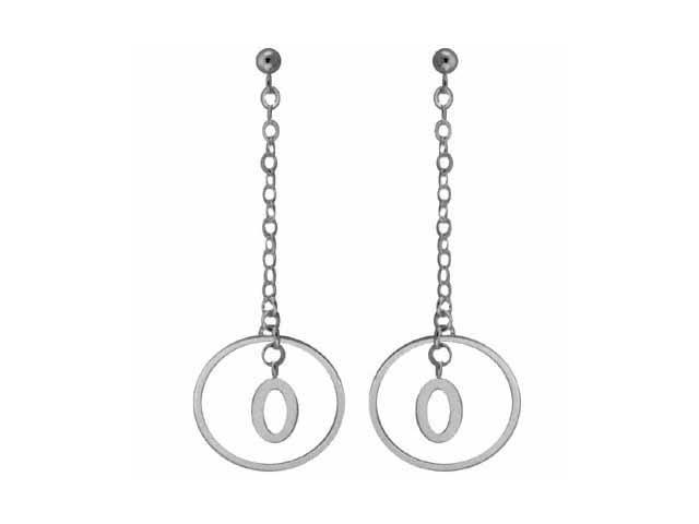 Sterling Silver Stilletto Earrings with Drop Hoop