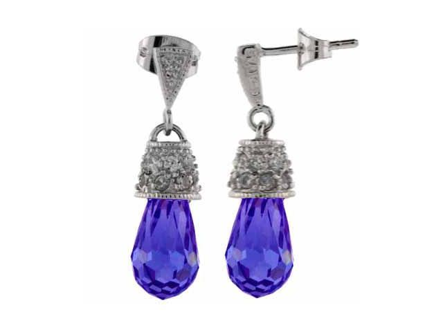 Sterling Silver Simulated Tanzanite CZ and Simulated Diamond CZ Earrings