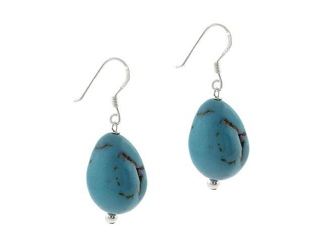Sterling Silver .925 Simulated Blue Turquoise Stone Chunky Earrings