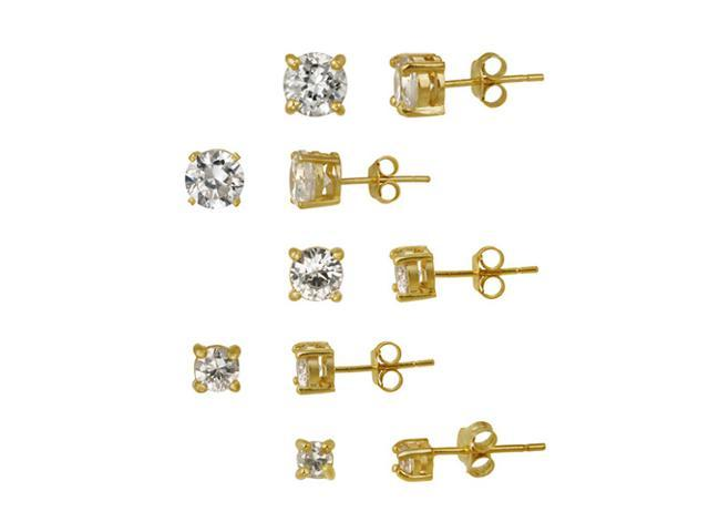 18K Gold over Sterling Silver 5-Pair Round CZ Stud Earrings Set