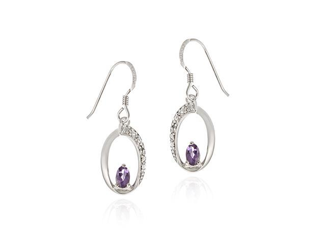 Sterling Silver Amethyst & Diamond Accent Oval Dangle Earring