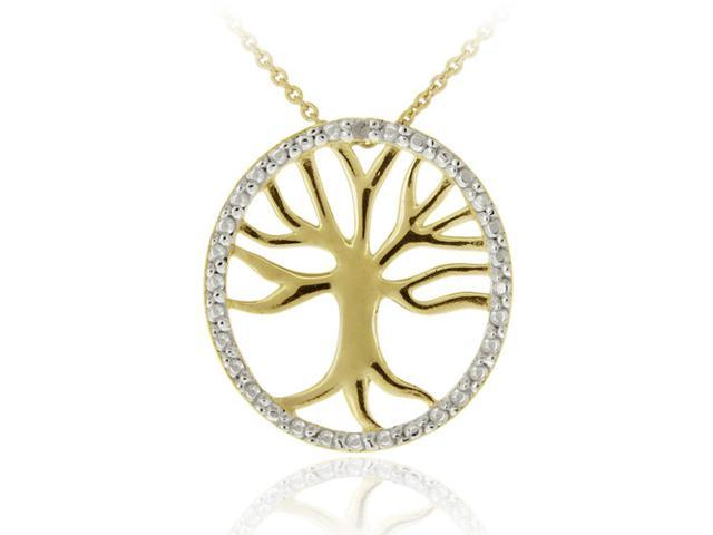 18K Gold over Sterling Silver Diamond Accent Tree of Life Pendant