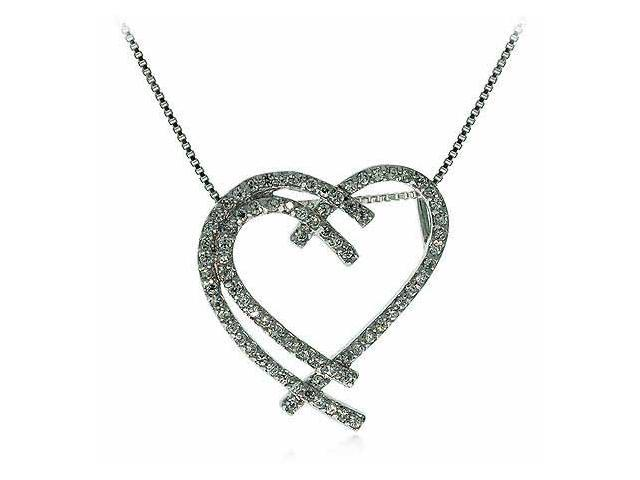 Sterling Silver Simulated Diamond cz Intertwining Heart Pendant