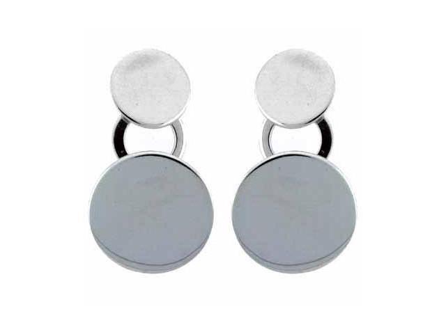 Dangling Circle Disk O Sterling Silver Earrings