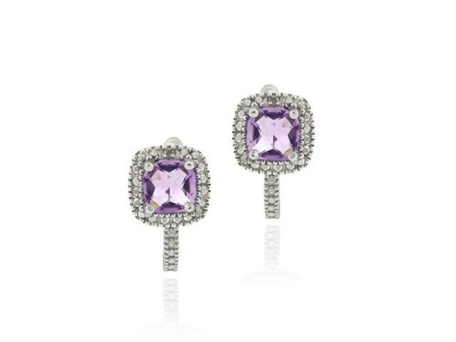 Sterling Silver Faceted Amethyst & Diamond Accent Huggie Earrings