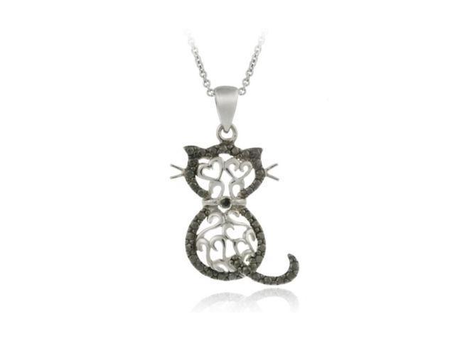 Sterling Silver Black Diamond Accent Filigree Cat Pendant