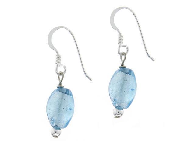 Sterling Silver .925 Light Blue Glass Glitter Foil Bead Oval Dangle Hook Earring